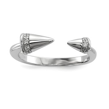 Sterling Silver Rhodium-plated CZ Spike Ring