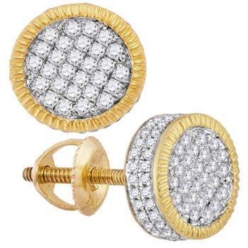 10kt Yellow Gold Mens Round Diamond Fluted Circle Cluster Stud Earrings 3/4 Cttw
