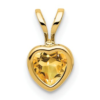14k 5mm Heart Citrine bezel pendant