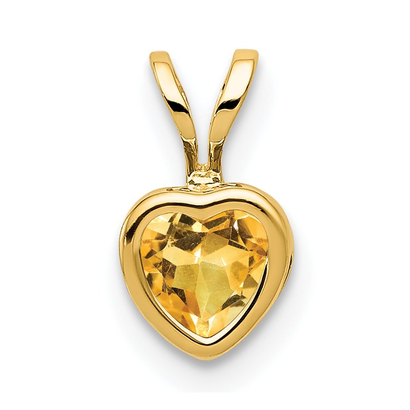 Quality Gold 14k 5mm Heart Citrine bezel pendant