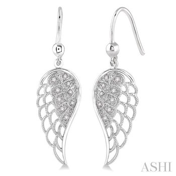 SILVER ANGEL WING DIAMOND EARRINGS