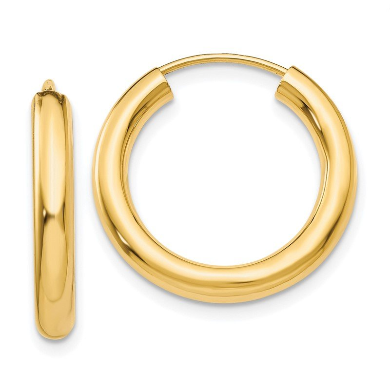 Quality Gold 14k Polished Endless Tube Hoop Earrings