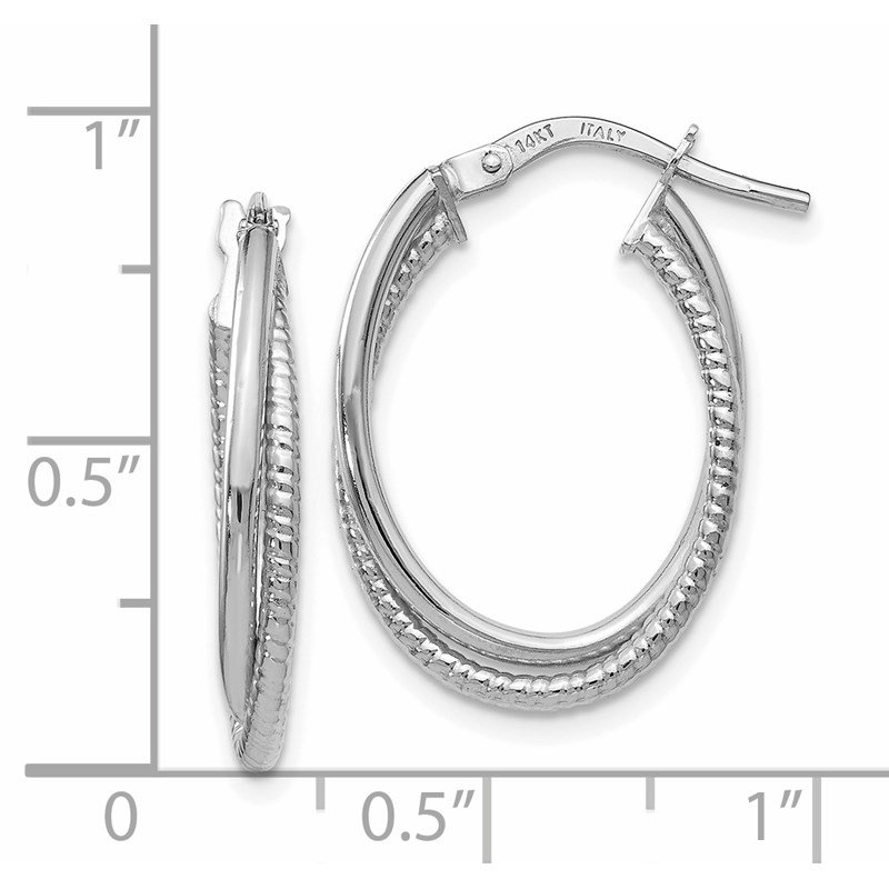 Leslie's Leslie's 14K White Gold Polished Textured Oval Hoop Earrings