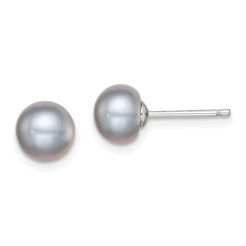 Quality Gold Sterling Silver Rh-plated 7-8mm Grey FW Cultured Button Pearl Stud Earrings