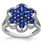 Quality Gold Sterling Silver Rhodium-plated Sapphire Flower Ring