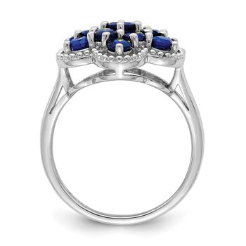 Sterling Silver Rhodium-plated Sapphire Flower Ring