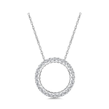 Round Diamond Pendant in 14K White Gold ( 1.45 tw)