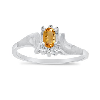 14k White Gold Oval Citrine And Diamond Satin Finish Ring