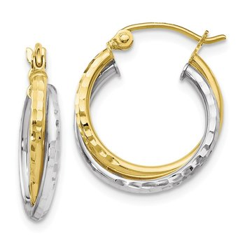 Leslie's 10K Two-tone Diamond-cut Hinged Hoop Earrings