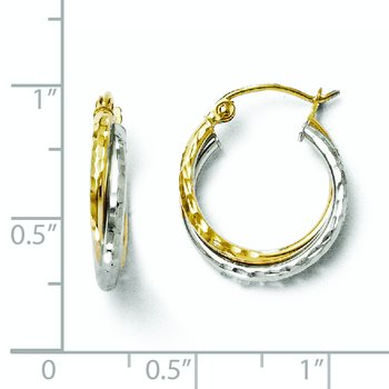 Leslie's 10K Two-tone D/C Hinged Hoop Earrings