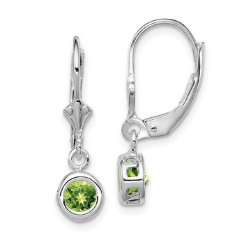 Sterling Silver Rhodium 5mm Round Peridot Leverback Earrings