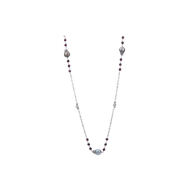 Imperial Pearl Sterling Silver Tahitian Pearl Necklace