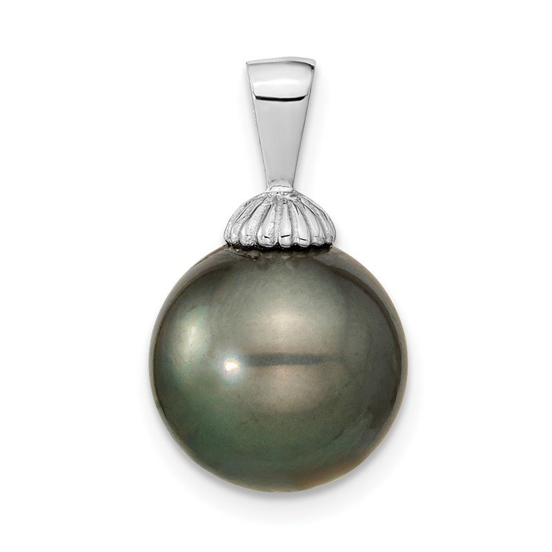Quality Gold 14k WG 11-12mm Black Round Saltwater Cultured Tahitian Pearl Pendant