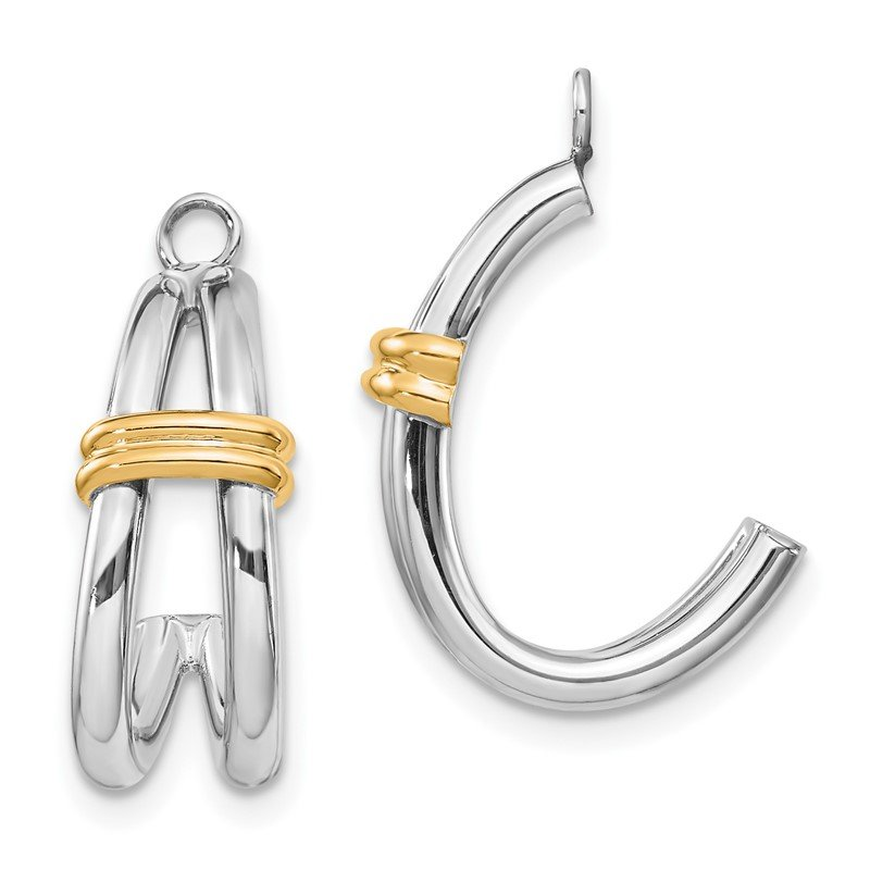 Quality Gold 14k Two-tone J Hoop Earring Jackets