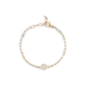 White & Yellow Gold Chain Bracelet with Round Diamond Station