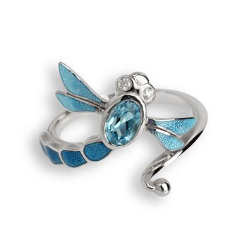 Blue Dragonfly Ring.Sterling Silver-White Sapphire and Blue Topaz