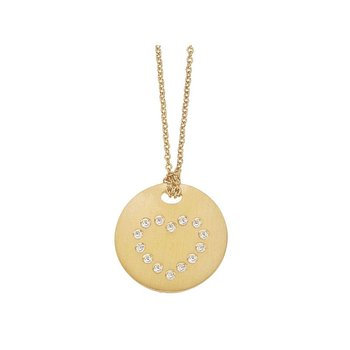 18KT GOLD DISC PENDANT WITH DIAMOND HEART