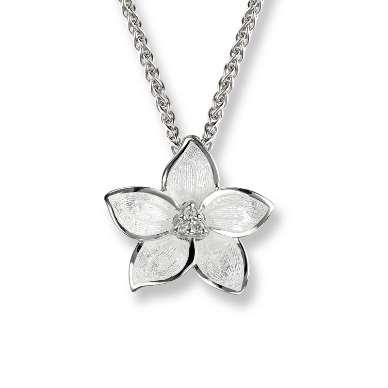 Nicole Barr Designs Sterling Silver Stephanotis Necklace -White. Diamonds.