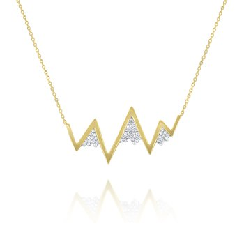 Large Diamond Zig Zag Mountain Necklace Set in 14 Kt. Gold