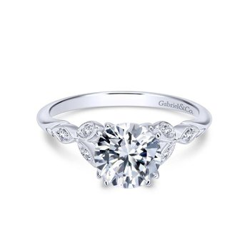 14k White Gold Diamond Cathedral Setting Straight Shank Engagement Ring