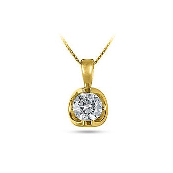 14K YG Diamond 'Moon Shine' Pendant TDW 0.15Cts