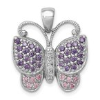 Quality Gold Sterling Silver Rhodium-plated Polished w/ CZ Butterfly Pendant