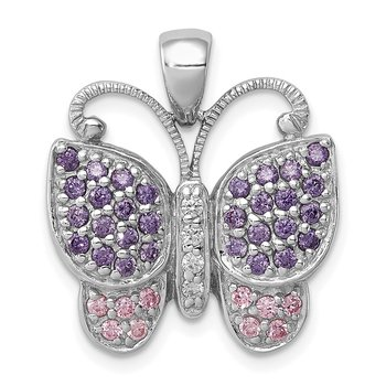 Sterling Silver Rhodium-plated Polished w/ CZ Butterfly Pendant