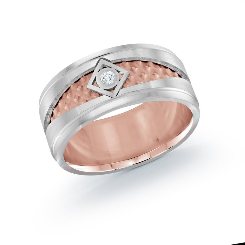 Mardini 10mm two-tone white and rose gold center weave band, embelished with 0.03CT diamond