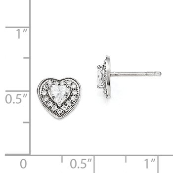 SS Rhodium-Plated CZ Brilliant Embers Heart Post Earrings