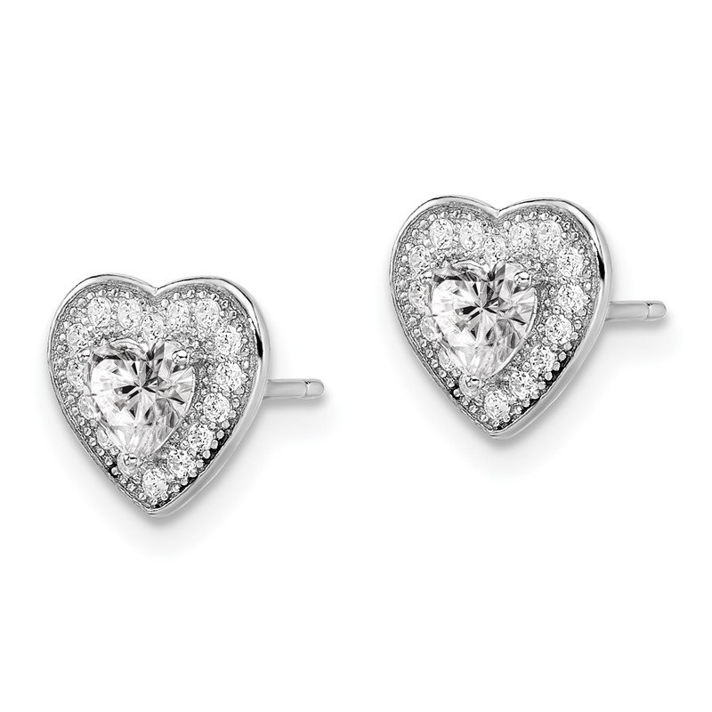 Quality Gold SS Rhodium-Plated CZ Brilliant Embers Heart Post Earrings