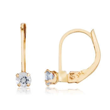 14k Petite White Topaz Leverback Earrings