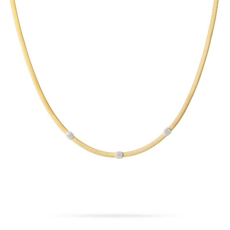 Marco Bicego Masai Three Station Diamond Necklace in Yellow Gold
