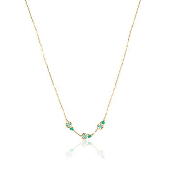 Petite Gemstone Necklace with Turquoise and Green Onyx