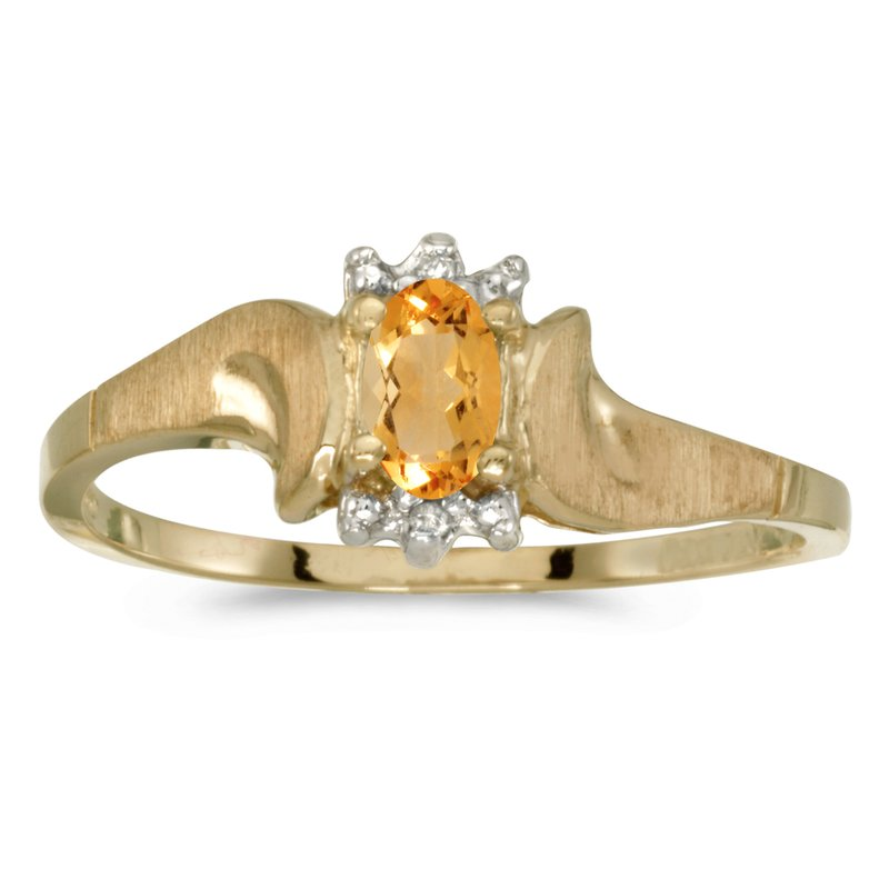 Color Merchants 14k Yellow Gold Oval Citrine And Diamond Satin Finish Ring