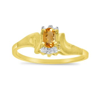 14k Yellow Gold Oval Citrine And Diamond Satin Finish Ring