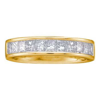 14kt Yellow Gold Womens Princess Channel-set Diamond Single Row Wedding Band 1 Cttw - Size 5