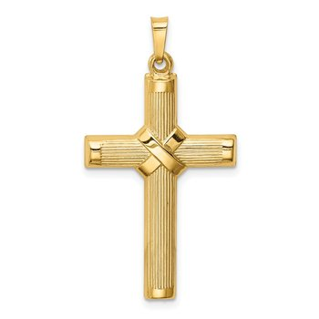 14k Hollow Polished Center X Cross