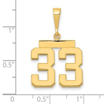 14k Medium Polished Number 33 Charm