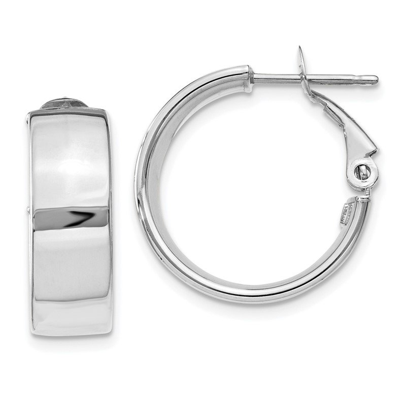 J.F. Kruse Signature Collection 14k 6.75mm White Gold Omega Back Hoop Earrings