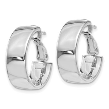 14k 6.75mm White Gold Omega Back Hoop Earrings
