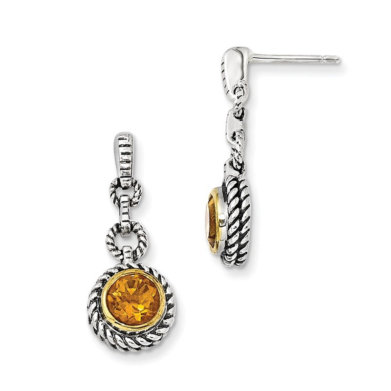 Shey Couture Sterling Silver w/Gold-tone Flash Gold-plated Citrine Earrings