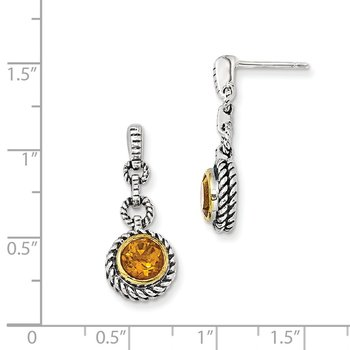 Sterling Silver w/Gold-tone Flash Gold-plated Citrine Earrings