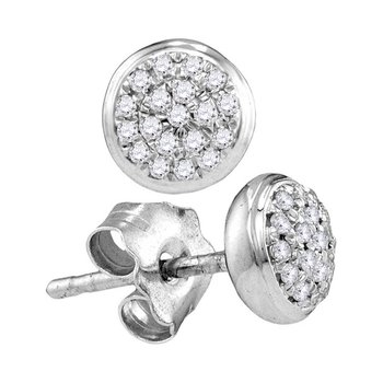10kt White Gold Womens Round Diamond Concentric Cluster Screwback Earrings 1/10 Cttw