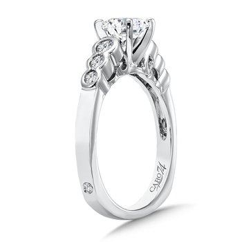 Modernistic Collection Engagement Ring With Round Diamond Side Stones in 14K White Gold with Platinum Head (3/4ct. tw.)