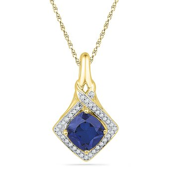 10kt Yellow Gold Womens Round Lab-Created Blue Sapphire Solitaire Pendant 1-5/8 Cttw