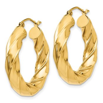 14k Polished 5.0mm Twisted Hoop Earrings