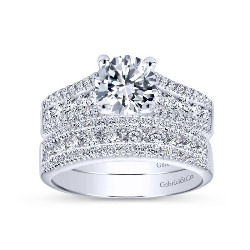 Gabriel  14K White Gold Round Wide Band Diamond Engagement Ring