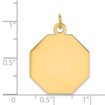 14k Plain .018 Gauge Engravable Octagonal Disc Charm