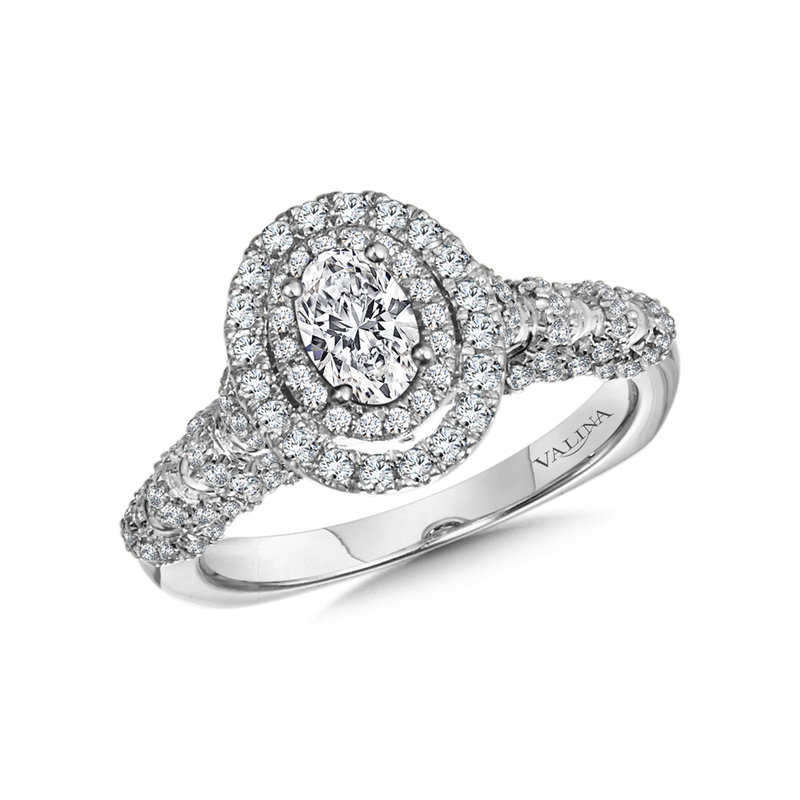 Valina Bridals Halo Engagement Ring Mounting in 14K White Gold (.56 ct. tw.)