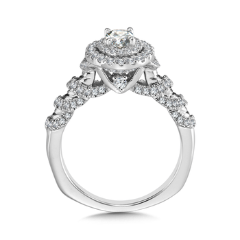 Halo Engagement Ring Mounting in 14K White Gold (.56 ct. tw.)